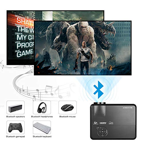 LED Android 6 0 WiFi Bluetooth Projector 4200 Lumens Support 1080P Full HD Multimedia LCD Home Theater Video Projector Bluetooth Portable Outdoor Wireless HDMI VGA USB AV TV Speakers for Movies Game