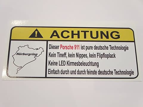 Porsche 911 Pure Deutsche Technologie Lustig Warnung Aufkleber Decal Sticker
