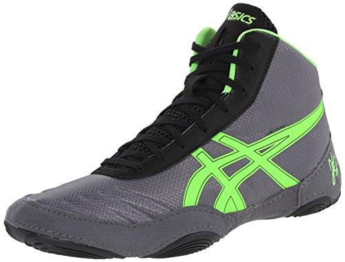 Asics Men's JB Elite V2.0 Wrestling Shoe, Granite/Green Gecko/Black, 11.5 M US