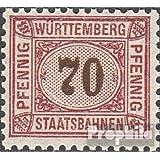 Württemberg 70 pfennig con marca de agua Cruces y Anillos 1906 Staatsbahnen (sellos para los coleccionistas)
