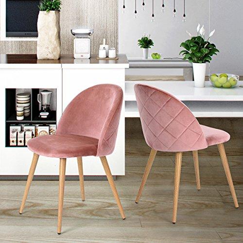 coavas Esszimmerstuhl Samt weich Kissen Sitz und Rücken mit hölzernen Metallbeine Küche Stühle für ESS - und Wohnzimmer Stühle Set von 2, Rosa