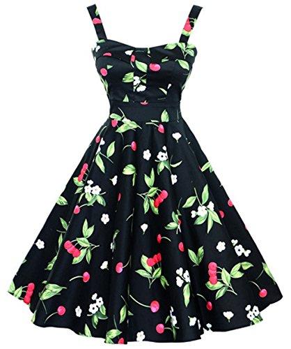 VERNASSA Robe de soirée rétro pour femme, 50s Halterneck Rockabilly Party Dresses, Polka Pinup robe trapèze avec motif floral,Multicolore, S-4XL 1200-Noir