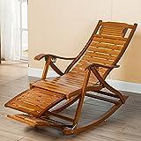 QFFL Schaukelstuhl Erwachsene Klapp Bambus Schaukelstuhl Ältere Freizeit Schaukelstuhl Balkon Mittagspause Stuhl Versenkbare Stuhl Outdoor Hocker