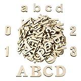 Satinior 124 Pezzi Totalmente Legno Lettere Minuscole Numeri in Legno Legno Lettere per Arte Craft Fai da Te Decorazione Display