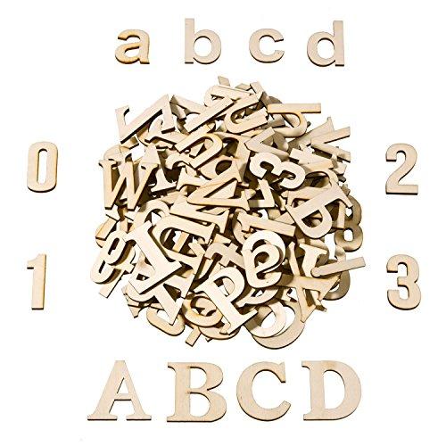 SATINIOR 124 Stücke Total Holz Große Buchstaben Holz Kleinbuchstaben Hölzerne Zahlen für Kunst Handwerk DIY Dekoration…