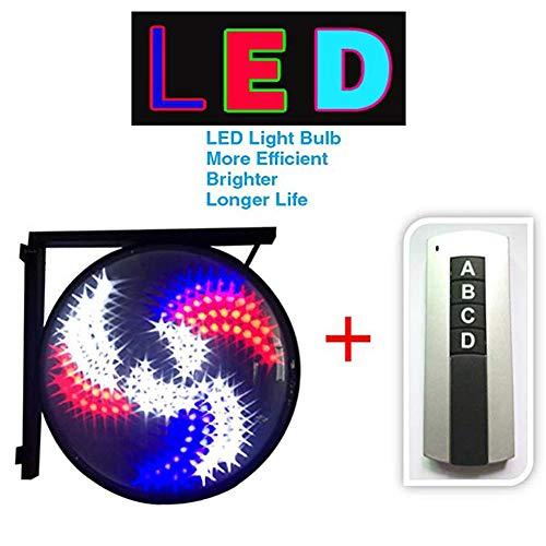 Salon de coiffure pôle rotatif éclairage LED lumineux mur extérieur imperméable l'eau moulin vent lumière signe tour cheveux de la lampe rouge bleu blanc noir avec télécommande, 66cm/26in,Figure2