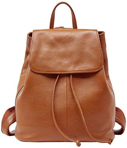 BOYATU Leder Rucksack für Frauen Mini Daypack Kleine Mode Handtasche Reisetasche (Karamell)