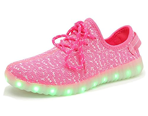 Fortuning's JDS Unisexe adulte dentelle chaussures LED lumineux USB chargeant clignotant Sneakers Filage Tenue de sport Rose