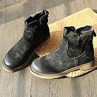 FJTHY Botas de Otoño E Invierno de Martin, Zapatos Vintage de Mujer Planos Más Botines de Terciopelo, Regalo de Mujer,Negro,XXL