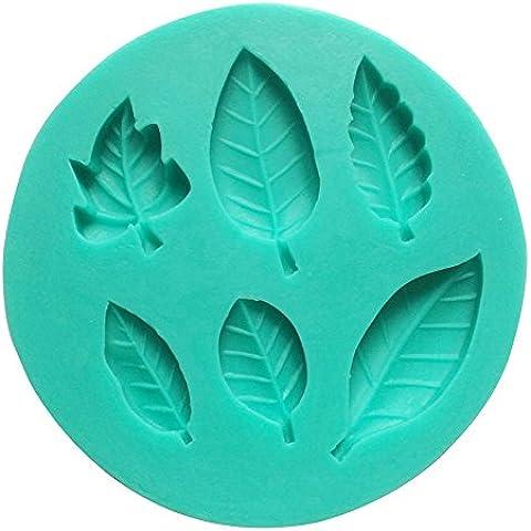 Umiwe(TM) Molde de Silicona de 6 Cavidad Hojas Hermosas de Fondant, Molde de Decoración para Tarta y Azúcar, Color Aleatoriamente con Umiwe