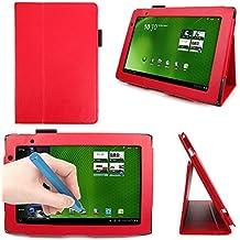DURAGADGET Funda /Atril Rojo Para Acer Iconia Tab A500 + Lápiz Stylus Azul - Una Estupenda Funda Que Se Adapta A Su Tableta