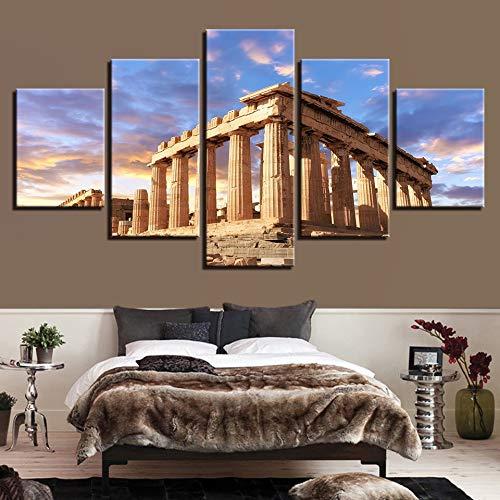 lsweia Leinwandbilder Wandkunst HD Drucke Wohnkultur Zimmer 5 Stücke Akropolis Parthenon Tempel Gebäude Landschaftsmalereien Rahmen