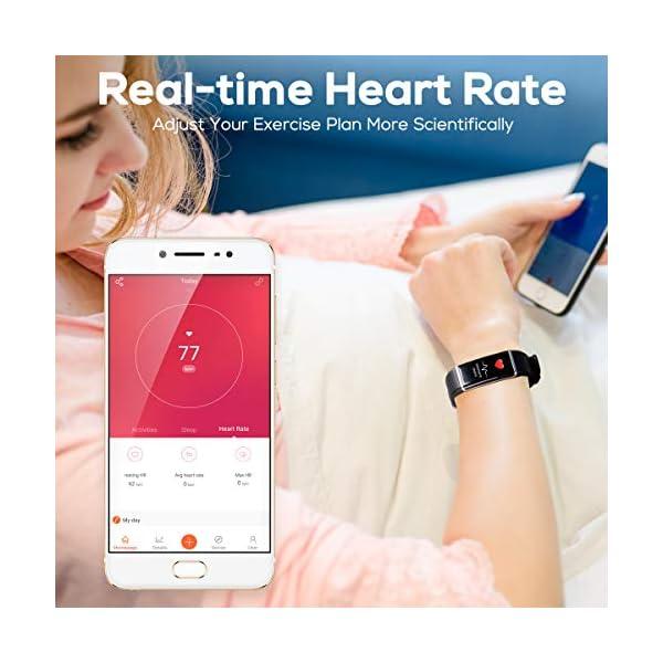CHEREEKI Pulsera Actividad, Pulsera de Actividad Inteligente Frecuencia Cardíaca Monitor, IP68 Impermeable Pantalla… 3