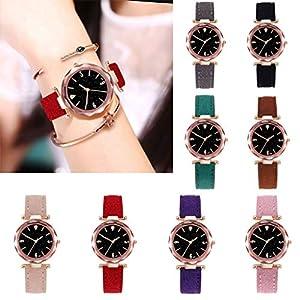 SO-buts Frauen Smartwatch,Lässige Analog Uhren, Armband Mit Leder,Mode Sterne Sky Dame Watch,Luxus Quarz Uhr,D01-B