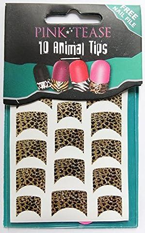 Pink Tease Nail Tip Foils - Pack Of 10 Animal Wrap Tips - Black Gold Leopard