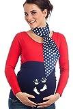 Mamaband Schwangerschaft Bauchband mit süßem Hand- & Fußabdruck – Rückenwärmer und Shirtverlängerung – Elastische Umstandsmode in Dunkelblau Größe 44/48