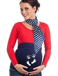 Mamaband Schwangerschaft Bauchband mit süßem Hand- & Fußabdruck – Rückenwärmer und Shirtverlängerung – Elastische Umstandsmode in drei Größen