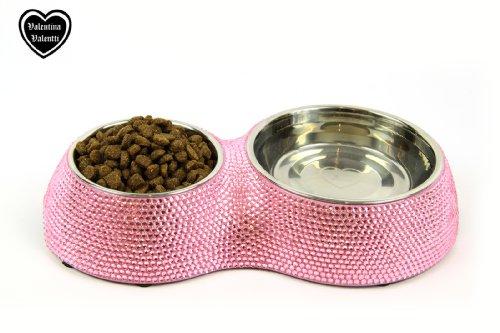 Valentina Valentti Futternapf für Hunde/Katzen, mit Schmucksteinbesatz, 2 Näpfe, klein, Rosa