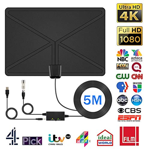 [2019 Leistungsfähige] TV Antenne, DIZA100 Innenantenne 100-120 KM Reichweite mit Verstärker und 5 Meter Coax Kabel für DVB-T/DVB-T2/DAB+ Kompatible Fernseher Antenne