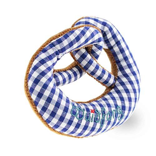 Plüsch Breze Blau + Integrierter Rassel, Babyrassel, Brezenform, Plüsch, Größe 15 x 13 cm, -