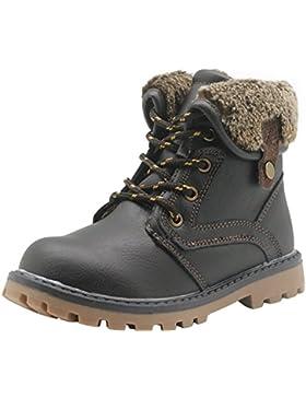 Zapatos Para Niños Boy Lace Up & Soles Antideslizantes Martin Boots Fleece Inside Hiking Boot