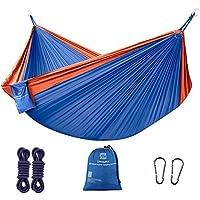 ZANMAX Hamaca de Camping Doble Ultraligera (300 cm x 200 cm), Hamaca de nailon de paracaídas portátil con 2 correas de presión, hamaca para senderismo, mochila, viajes, playa, patio (azul y naranja)