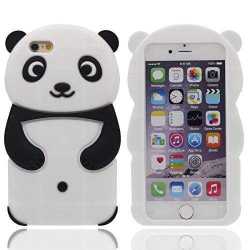 """3D Niedlich Panda Serie Hülle für Apple iPhone 7 4.7"""", Gute Qualität Silikon Gel Gemütlich Berühren Weich Karikatur Tier Stil Case Cover Schwarz"""