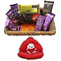 SFU E Com Premium Chocolate Gift Basket | Valentine Heart Cushion with Teddy Bear Inside | Valentine Chocolate Hamper | Valentine Gift Combo for Him, Her, Husband, Wife