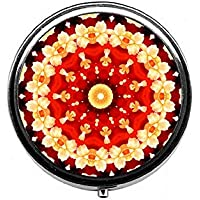 LinJxLee Mandala red Portable Round Pill Case Pill Box Medicine Box Medicine Tablet Vitamin Organizer for Purse... preisvergleich bei billige-tabletten.eu