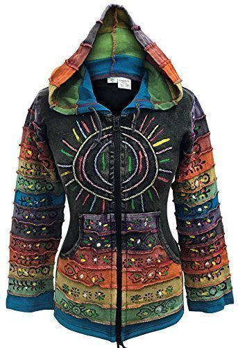 Säure wäsche mehrfarbig patchwork kapuzenpulli, rainbow gestreift ärmel hippy jacke,boho, Schwarz, XL