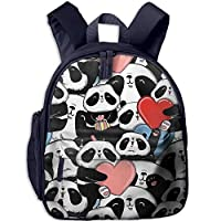 Cute Pandas Double Zipper Waterproof Children Schoolbag with Front Pockets for Youth Boys Girls