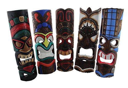 Madera-juego-de-mscaras-decorativas-de-5-varios-colores-TIKI-de-mscaras-de-madera-tallada-a-mano-colorful-Tikis-19-en-55-x-19-x-4-cm-Multicolor-Modelo-TM2
