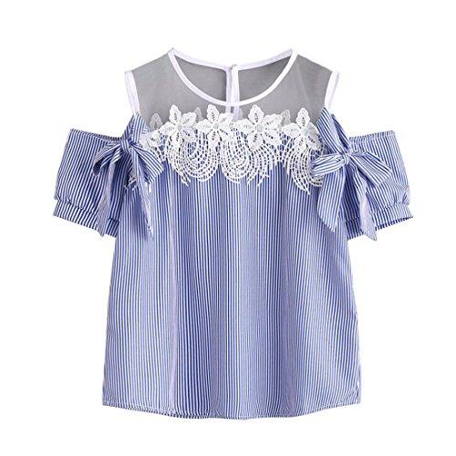 86c59a2e19f7f0 Sommer T-Shirt CLOOM Elegant Kurzarm Tops O-Ausschnitt Tunika Freizeit  Schulterfrei Off shoulder