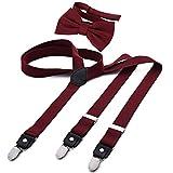 DonDon Herren Y-förmiger schmaler 2,5 cm Hosenträger elastisch und verstellbar im 2er Set mit farblich passender Fliege 12 x 6 cm - Dunkelrot