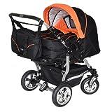Adbor Duo 3in1 Zwillingskinderwagen mit Babyschalen - silbernes Gestell, Zwillingswagen, Zwillingsbuggy Farbe Nr. 01s schwarz/orange
