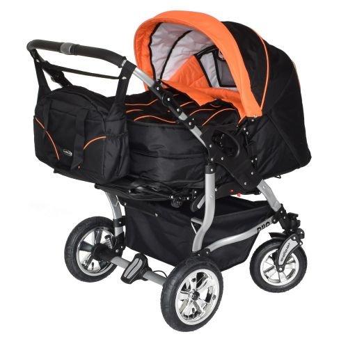Adbor Duo 3in1 Zwillingskinderwagen mit Babyschalen und 2 Isofix Stationen - silbernes Gestell, Zwillingswagen, Zwillingsbuggy Farbe Nr. 01s schwarz/orange