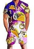 RAISEVERN Herren Tier Gedruckt Kurzarm Overall Cargo Pants Zip Tops Rompersuits Sommer Outfits