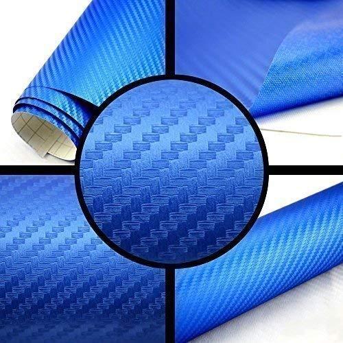 TipTopCarbon 6,57€/m² 3D Carbon Folie blau BLASENFREI 1m x 1,52m mit Luftkanäle Autofolie selbstklebend