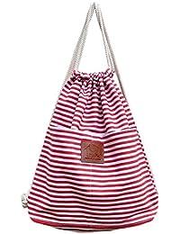 f02bfc28482cc ultiMade - Trendiger Hipster Stoffbeutel -RED Stripes- aus Baumwolle -  Turnbeutel Tasche mit Kordel