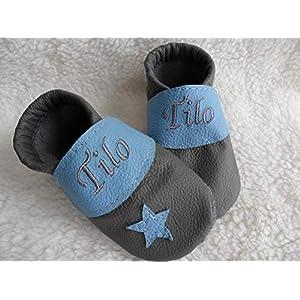 Annes-Lederpuschen Krabbelschuhe mit Namen Taufschuhe Babyschuhe personalisiert Lederpuschen Jungen Geburtsgeschenk grau…