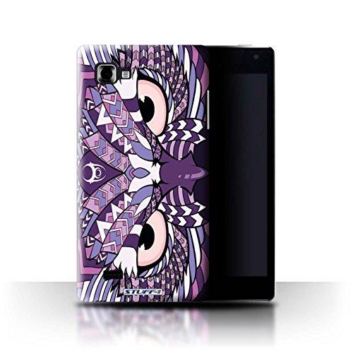 Custodia/Cover Rigide/Prottetiva STUFF4 stampata con il disegno Disegno animale aztec per LG Optimus 4X HD P880 - Gufo-viola