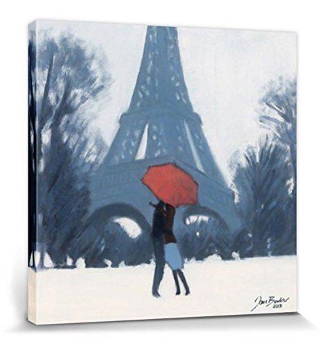 Paris Poster Reproduction Sur Toile, Tendue Sur Châssis - Baiser Romantique Sous Le Parapluie Rouge, Jon Barker (40 x 40 cm)