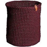 Cesta portaobjetos de cuerda de ganchillo Rojo Burdeos Alto 36 cm Ancho 30 cm Cesta cilíndrica Canasta para juguetes Cesta para plantas Cesto para ropa ...