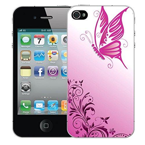 Nouveau iPhone 4s clip on Dur Coque couverture case cover Pare-chocs - vert dragon Motif avec Stylet gliding butterfly