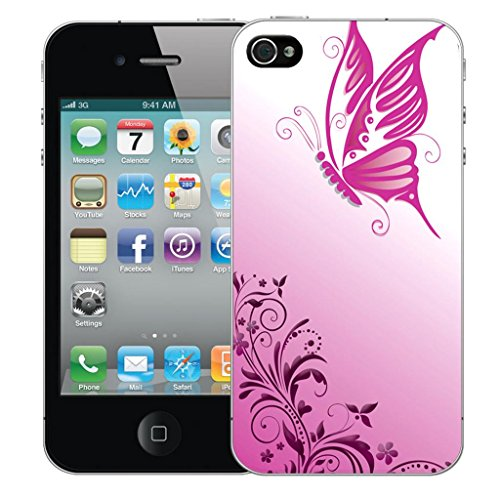 Nouveau iPhone 5s clip on Dur Coque couverture case cover Pare-chocs - rouge cupid heart Motif avec Stylet gliding butterfly