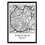 Nacnic Blatt Sheffield Stadtkarte nordischer Stil schwarz