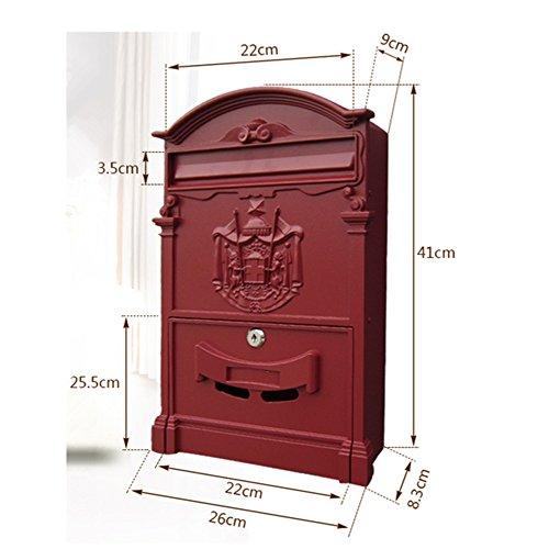 Europäischen klassischen Villa Mailbox Pastoral Retro Wand Briefkasten Wasserdicht Outdoor Mailbox mit Schloss Barock Sandy white - 3