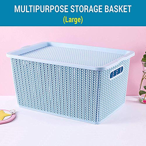 TIED RIBBONS Plastic Basket Storage Box with Lid for Multipurpose Use(Pink, 33x20x22cm)