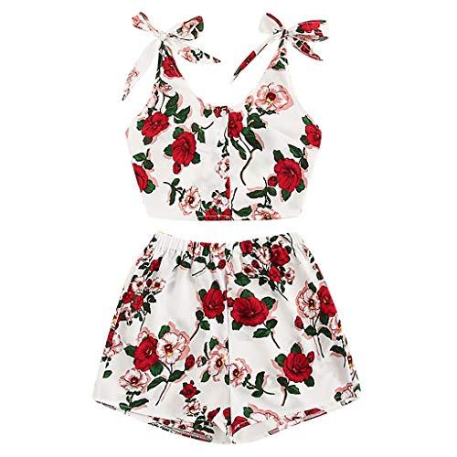 TUDUZ Shorts und Top Sets Damen Sommer Strand Zweiteiler Schulterfrei Sunflower Printed Beachwear Chiffon Boho Ärmellos Crop Tops (Rot, M) -