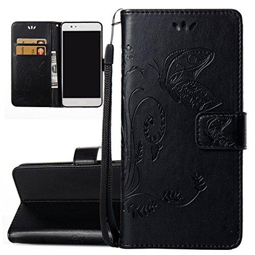 ISAKEN Compatibile con Huawei P10 Plus Custodia Cover - Farfalla Design in Pelle PU Cover Flip Portafoglio Cover con Supporto di Stand/Strap/Carte Slot/Chiusura - Farfalla: Nero